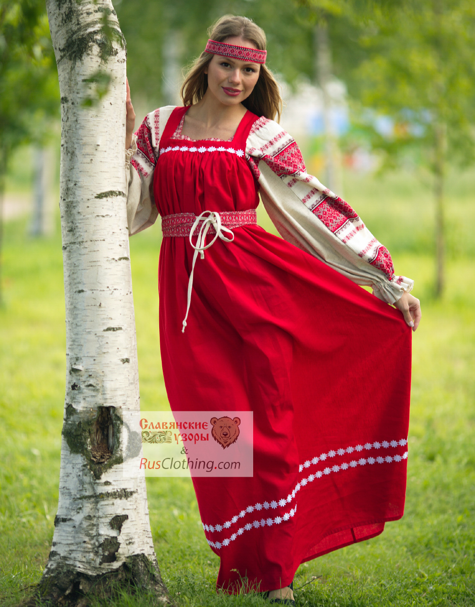 Red linen sarafan with Russian blouse Ladushka ...