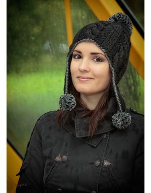 Earflap hand knit hat