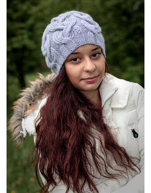 Lilac hand knit hat