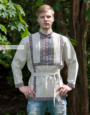 men linen russian shirt