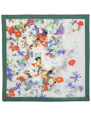 Silk scarf ''Flowers and triangles''