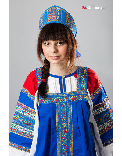 Russian folk blue cotton dress