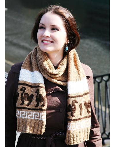 Camel hand knit scarf