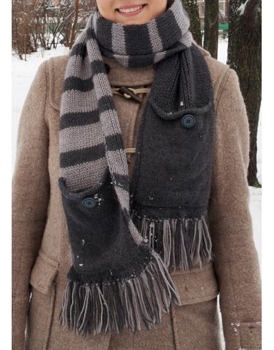 Long pocket hand knit scarf