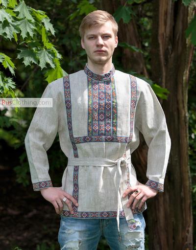 men linen russian shirt