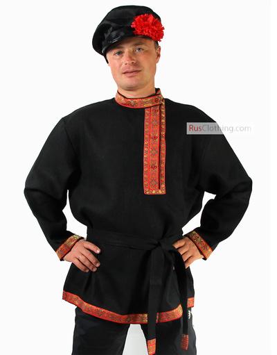 black linen kosovorotka shirt