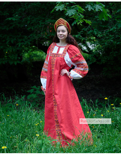 Russian folk cotton dress