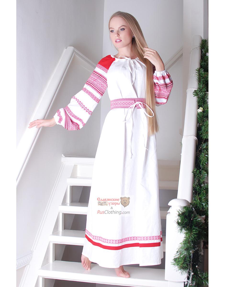 Славянское платье из льна сшить 5