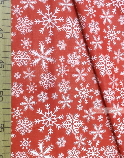Red Cotton Fabric By The Yard White Snowflakes