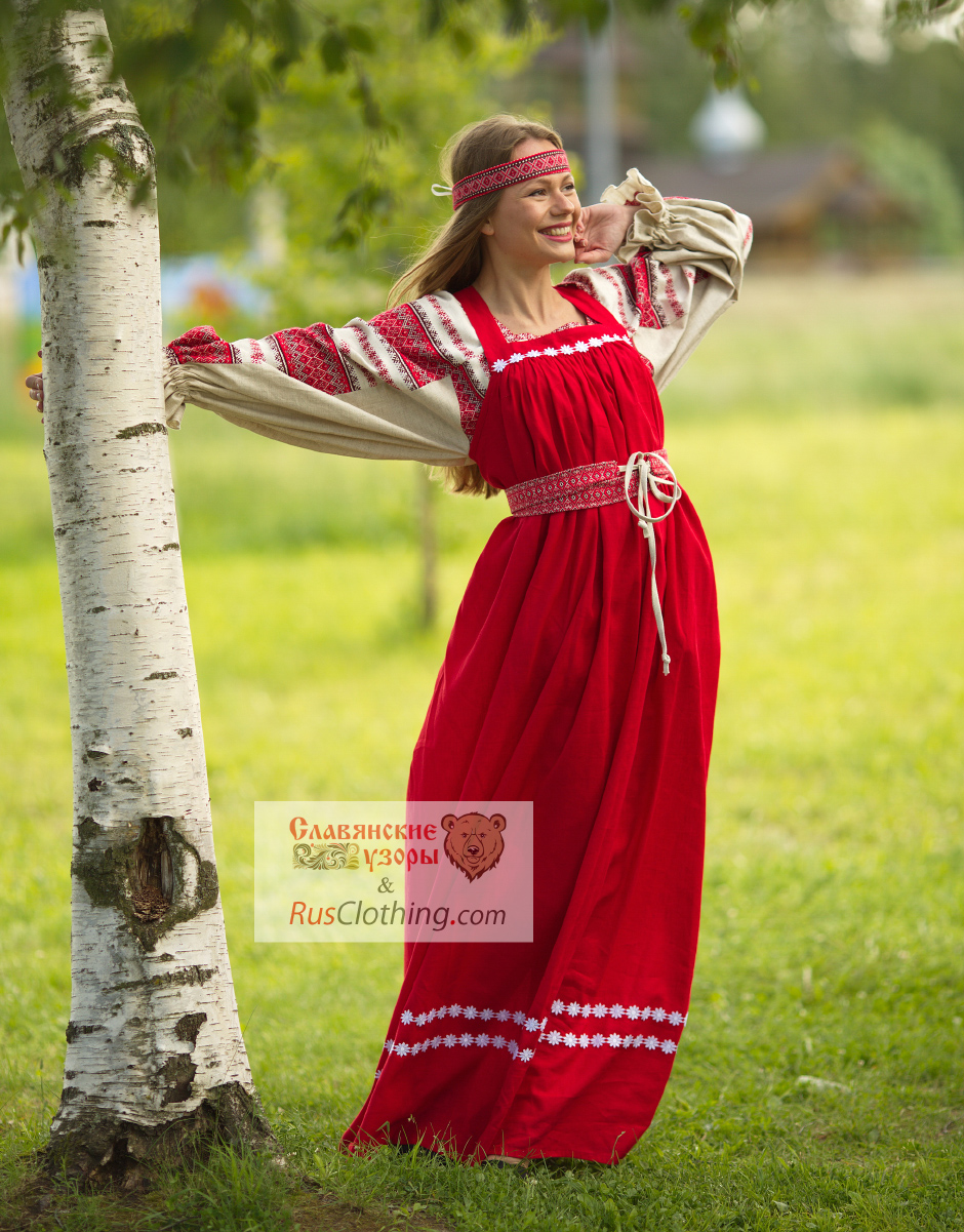 Red Linen Sarafan With Russian Blouse Ladushka