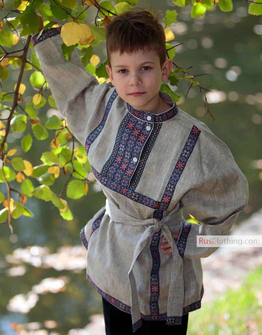 Linen Russian Shirt For Boy Rusclothing Com