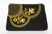 Gold Clutch Evening Bag ''Lace''}