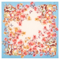 Cotton head scarf ''Cats and Flowers''