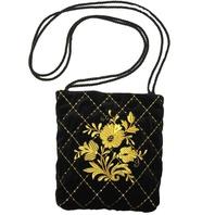 Small Black Evening Bag ''Bouquet''}