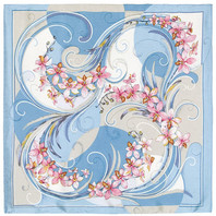 Silk scarf ''Dancing orchids''