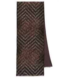 Men silk scarf with wool linen ''Diamonds''