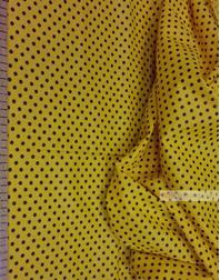 Tissu coton imprime au metre ''Black Polka Dots On Yellow''}