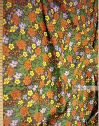 Tissu coton fleuri au metre ''Red Flowers On Black''}