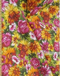 Tissu Russe Fleuri ''Wildflowers On A Bright Field (Light Green)''}