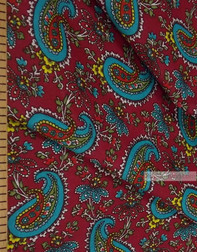 Tissu coton pasley au metre ''Turquoise Paisley On Red''}