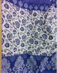 Tissu en Folklore au Metre ''Flowers, Blue''}