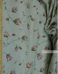 Tissu coton fleuri au metre ''Pink Roses On Gray''}