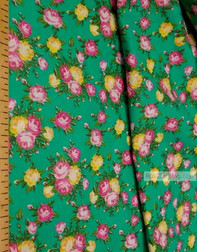 Tissu coton fleuri au metre ''Pink, Yellow Roses On Emerald''}