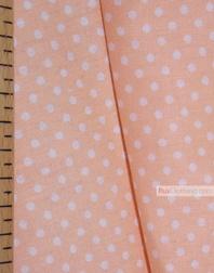 Tissu coton imprime au metre ''Small White Polka Dots On Peach''}