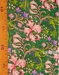 Tissu coton fleuri au metre ''Pink Lilies And Green Bells''}