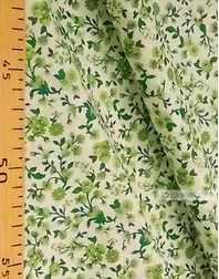 Tissu coton fleuri au metre ''Small Green Flowers On A White Field ''}