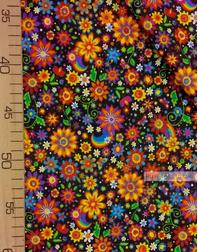 Tissu coton imprime au metre ''Bright Colors On Black''}