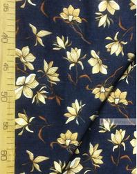 Tissu coton fleuri au metre ''Magnolia Flowers On A Dark Blue Field''}