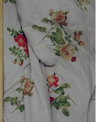 Tissu lin fleuri ''Roses''