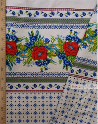 Tissu lin fleuri ''Poppies and cornflowers with gray ornaments''