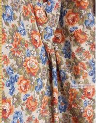 Lin Jacquard Français ''Red-blue flowers on beige''