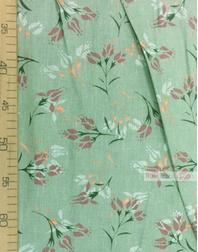 Tissu lin fleuri ''Burgundy, white flowers on green''