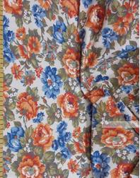 Tissu lin fleuri ''Red-blue flowers on white''