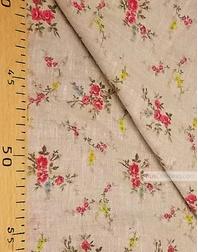 Tissu lin fleuri ''Red bouquet on gray''