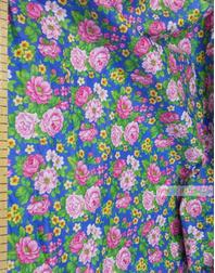 Tissu coton fleuri au metre ''Large Roses On Blue''}