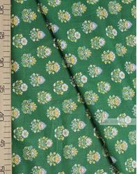 Tissu Folklorique au Metre ''Ornament Thistle On Green ''}