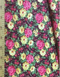 Tissu coton fleuri au metre ''Pink, Yellow Flowers On Maroon''}