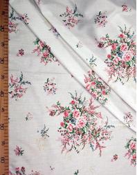 Tissu coton fleuri au metre ''Vintage Flowers On Milk''}