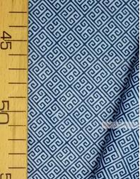 Tissu géométrique au metre ''Labyrinth, Blue On Blue''}
