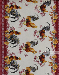 Tissu imprime nid d'abeille au metre ''Roosters''}