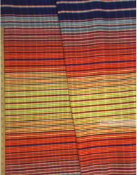 Waffle Fabric by the yard ''Multi-Colored Strip With A Blue Border''}