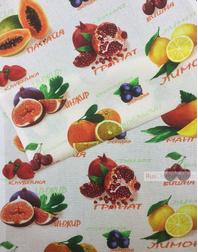 Tissu coton gaufré au metre ''Fruits''}