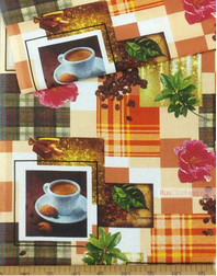 Waffle Print Fabric by the yard ''Coffee And Flowers''}