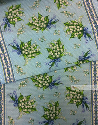 Waffle Fabric by the yard ''Lilies Of The Valley''}