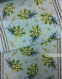 Tissu de coton gaufré au metre ''Lilies Of The Valley''}