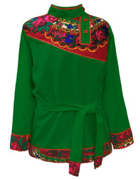 Traditional cotton Russian shirt ''Quadrille'' green